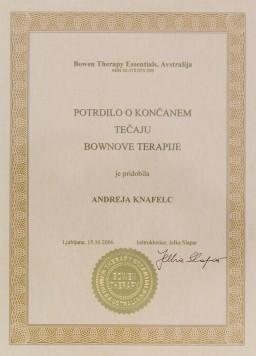 Certifikat Bownova terapija